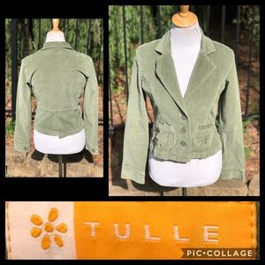 Tulle Green Short Blazer Size Small